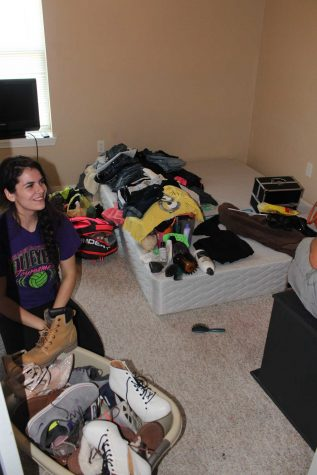 My new roommate, Daniela, moving into her room. She has a some organizing to do.