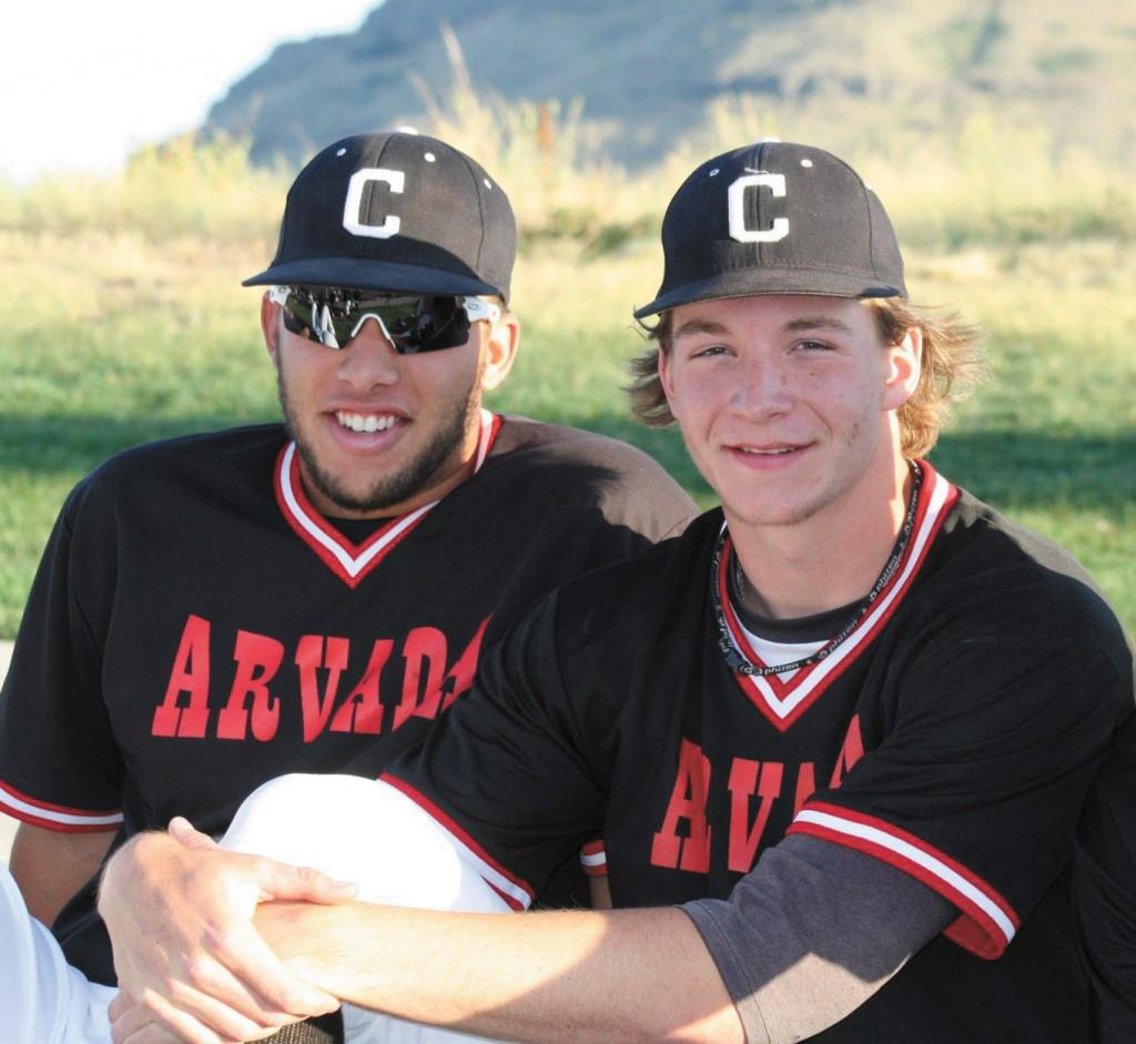Saints baseball players Tyler Wiedenfeld, at left, T.J. Looney, right,  and Garret Smith, not pictured, were in the Denver area playing baseball for the Arvada Colts when the Aurora theater shooting occurred July 20.