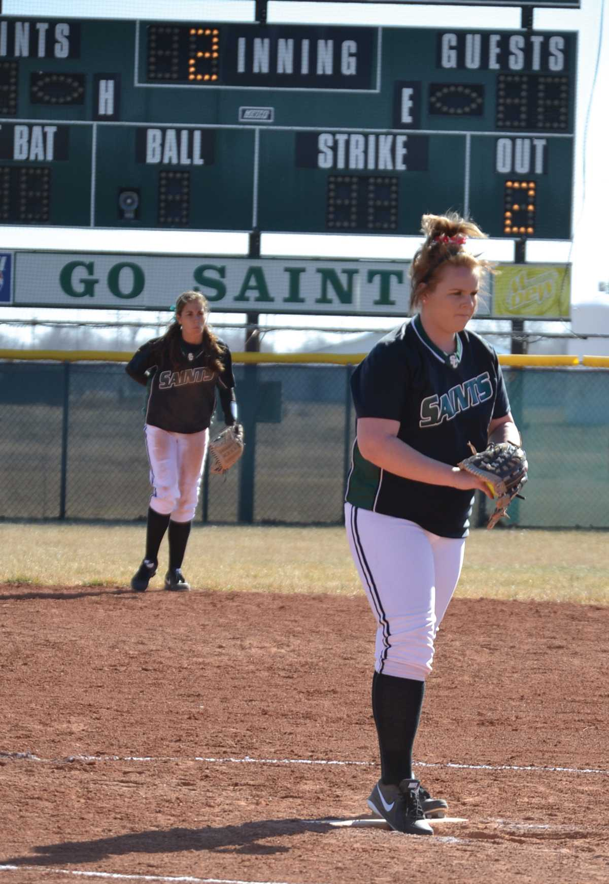 Crusader photo/Jose Medrano Brittney Sharkey prepares to pitch during the Lady Saints match against Northern Oklahoma-Tonkawa Feb. 9. Sharkey received the KJCCC Player of the Week award for the week of Feb. 10-17.