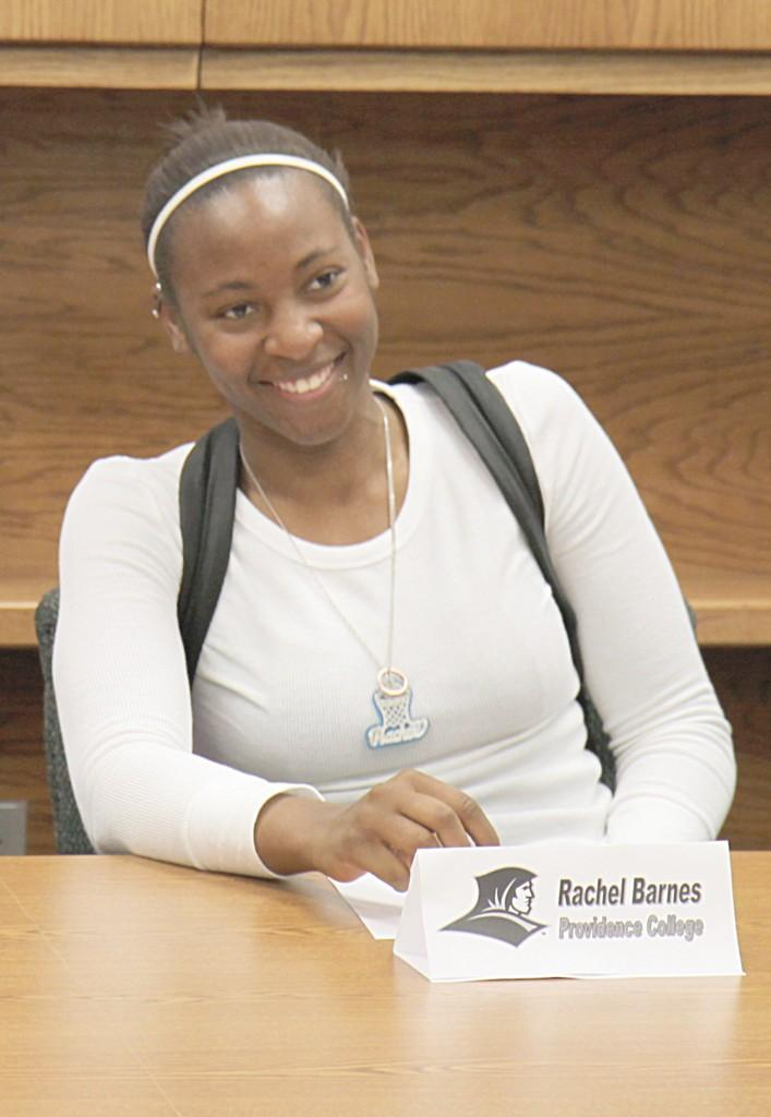 Crusader photo/ Rustin Watt  Barnes, a Connecticut native, signed her letter of intent to Providence College in Rhode Island Thursday afternoon.