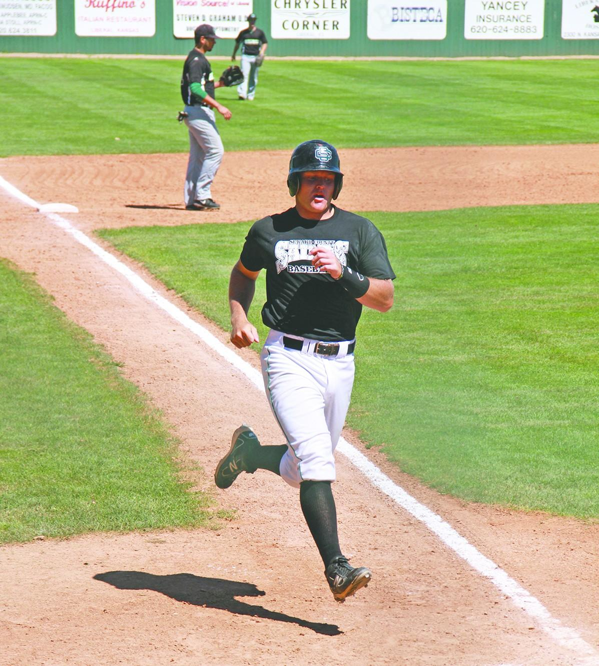 Brandon Rix runs to home plate during the Saints scrimmage against Clarendon College. Rix, an infielder for the Saints, earned the NJCAA Superior Academic Award last year. Crusader photo/Maria Lara