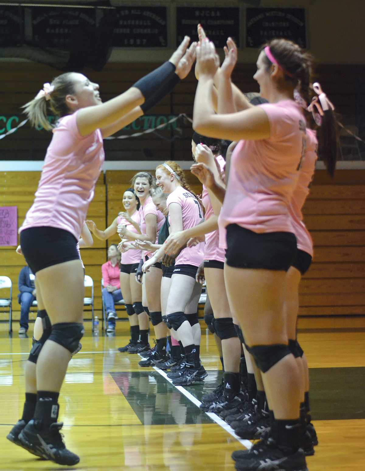 Crusader photo/ Diana Chavira  The Lady Saints make their line of introductions before they take the court. This was the Dig Pink for Breast Cancer match. The Lady Saints wore their pink uniforms to show their support of breast cancer awareness. In between sets 2 and 3, Seward collected donations that went towards the Dig Pink Side Out Foundation.