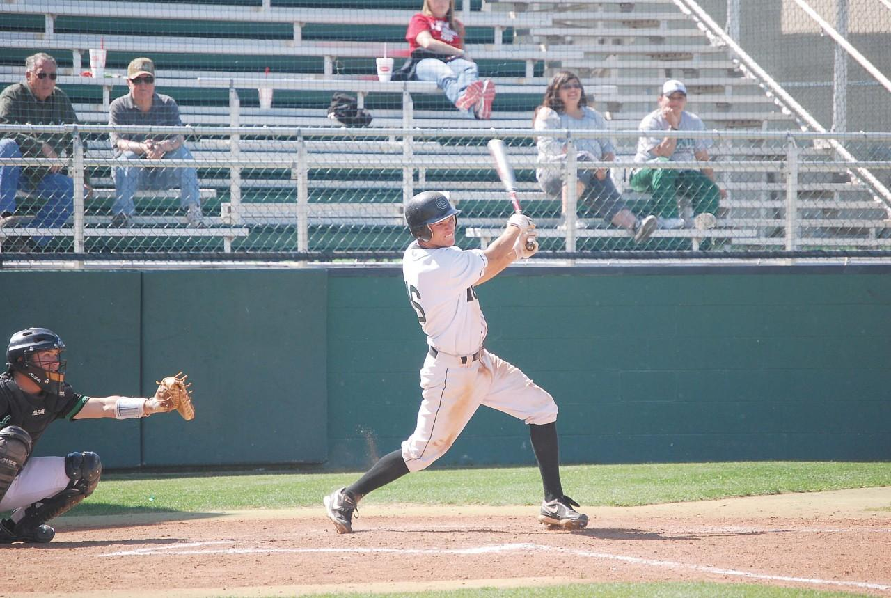 Crusader photo/Will Rector Kelby Tomlinson connects on a base hit against Clarendon on Tuesday. Tomlinson's homerun in the eighth would not be enough to put the Saints on top as they lost 8-7. Tomlinson was 4-5 in the game with four runs scored, a stolen base and an RBI from his homerun.