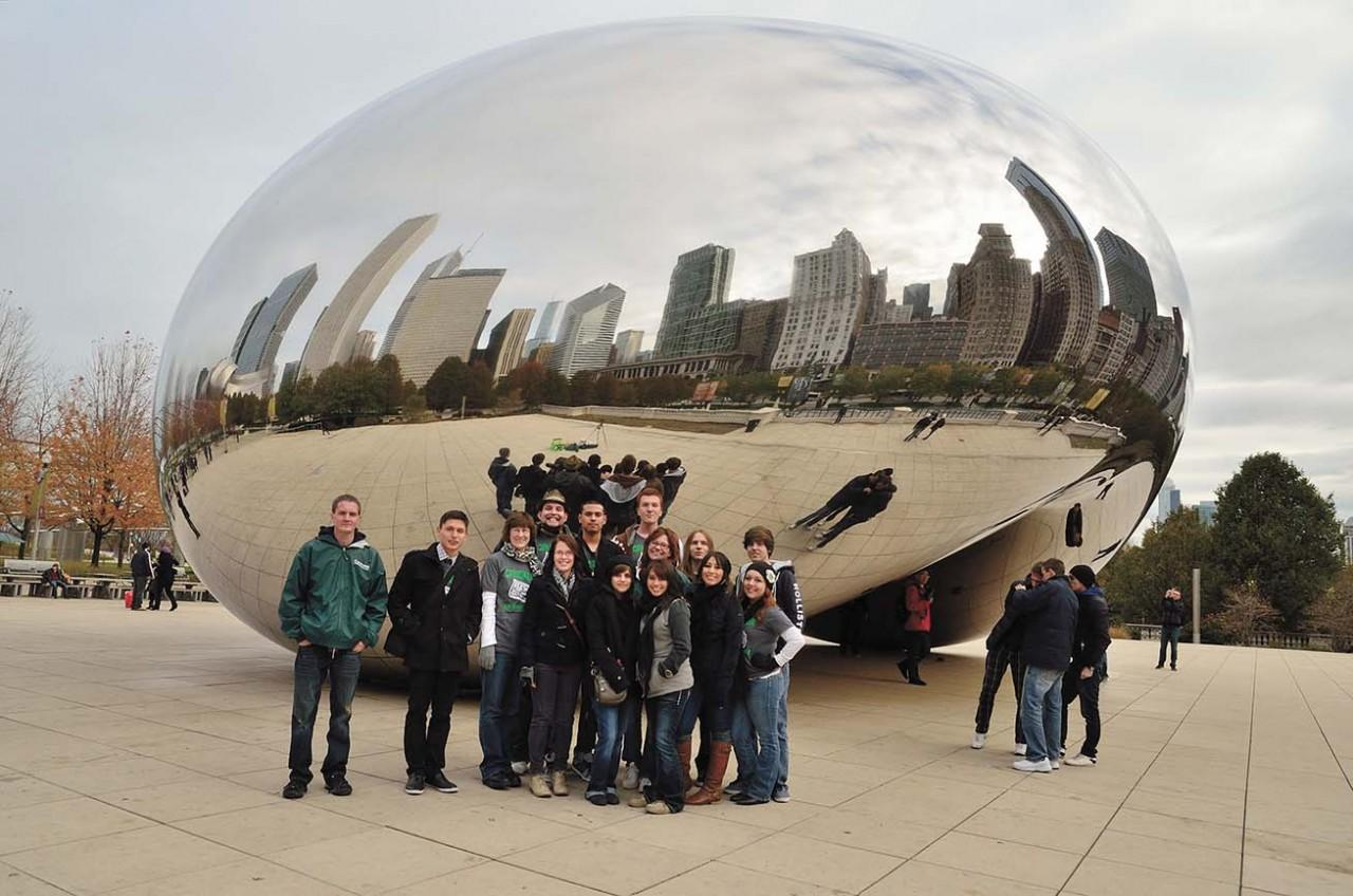 The Crusader staff stands by Cloud Gate at Millennium Park in Chicago, Ill. The staff traveled to Chicago for a national journalism convention. Staff is as follows, front row, from left, Jeremiah Wilson, Jose Medrano, adviser Anita Reed,  Tonya Loewen, Fabi Pena, Cinthia Serna, Sandy Alfaro and Celestina Padilla. Back row, from left, Jordan Long, Martin Pinon, Jakub Stepanovic, Dawn Shouse, Matthew Adkins and Dylan Sandell.