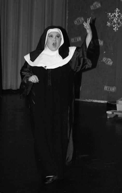 "Sister Mary Leo played by Monica Kerbo sings about how her passion for dance and a certain man led her to the convent. Her feelings were expressed in the song ""I Left Him There."""