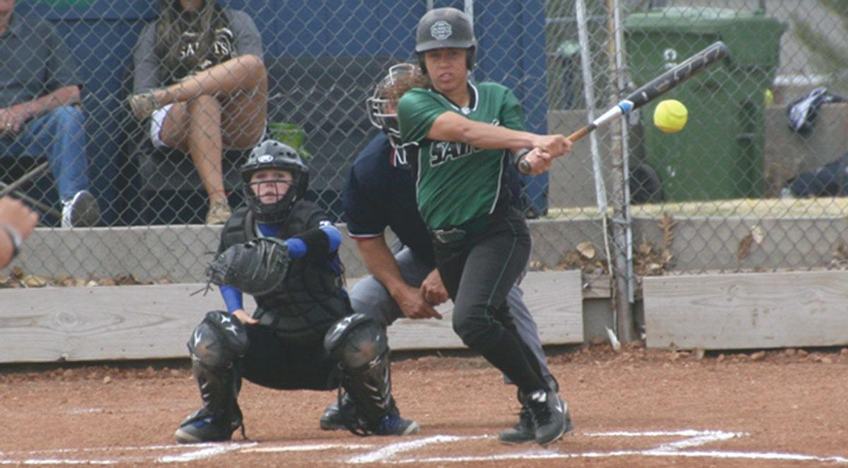 Courtesy photo/ Roy Allen Pokey Ewell, 5-1 right handed hitter, is about to sprint to base after hitting from home base on April 24 against Colby Lady Trojans. Ewell put Seward in the lead 5-3 in the second inning.