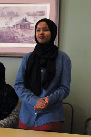Ambiyo Farah helps translate gratitude and concerns from the Somali Community. Ambiyo is a student at the Seward County Community College.