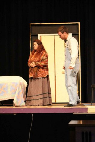 Seward County Community College students, Jessica Malkin and Franklin Guillen rehearse for the play, Bleeding Kansas.