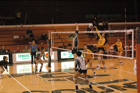 Belissa Guidotti (Sophomore) goes for a successful block against DCCC.