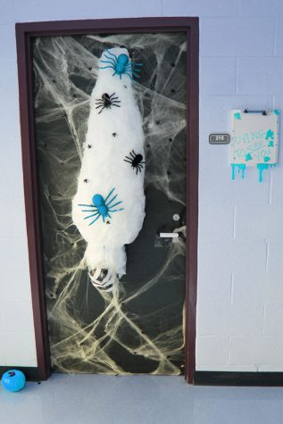 Roommates Victoria Rios and Aubrey Holt, decide to go with a creepy crawly theme for their door.