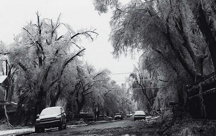 Tree branches litter N. Sherman Ave. in the aftermath of an ice storm that blanketed the area. Many in Liberal and the surrounding communities were without power over the holiday weekend as the storm passed through Southwest Kansas.