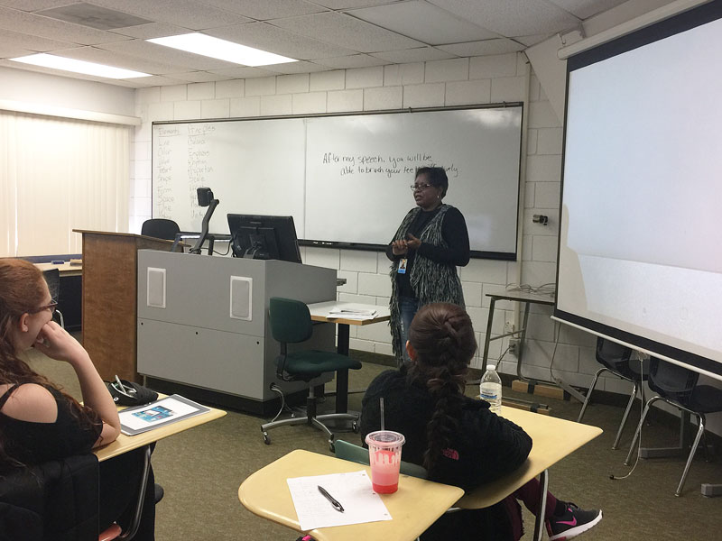 After not speaking in public for a while, Beverly Williams mentions that she is nervous to speak in front of the group of students.