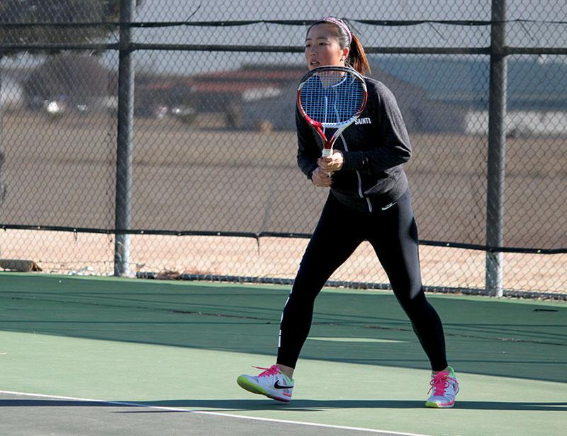 Freshman Lisa Suzuki prepares to make a play at practice.