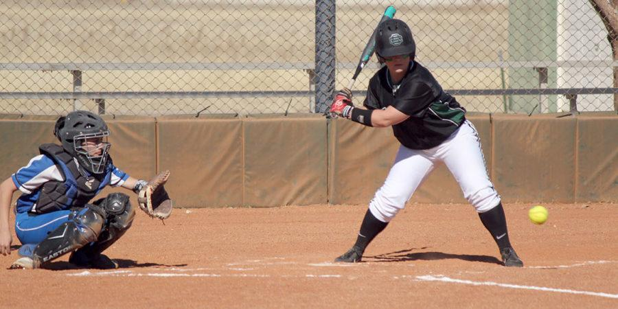 Lexi Manyik battling at the plate. Manyik has had 41 at bats, 19 runs, 17 runs, and 4 home runs so far this season.