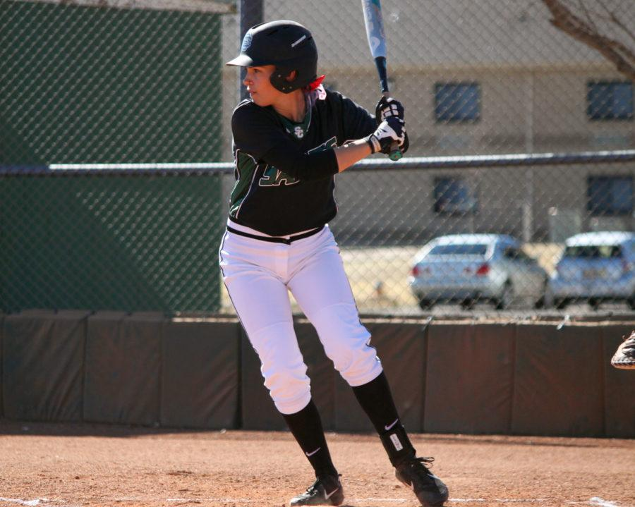 Taylor Kathler attempts a slap hit. Kathler played in 53 games as a freshman for the Lady Saints last season, hitting .253 with 11 driven home and 20 stolen bases on the year.