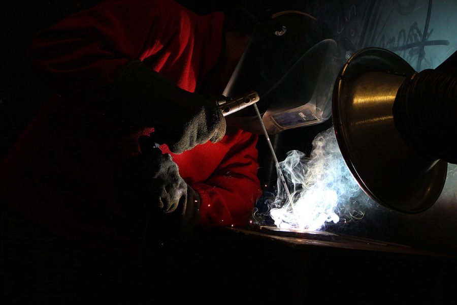 Everly Romero made his decision to go into welding when he was in high school. SCCC welding technology students learn to fuse metals using an electric arc or gas torch. Classes involve a lot of hands-on teaching and projects.
