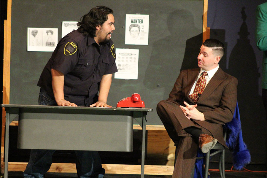 Characters Sweaty Eddie and Vince LaRocca, discuss a murder that had occurred earlier in the scene. Sweaty Eddie is played by Sophomore Alex Bolivar.