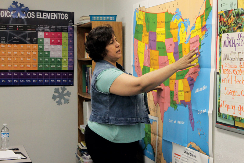In her Spanish GED class, Hernández teaches several subjects including geography, science and math. Besides school, the students she works with also have jobs and Hernández makes it to where they can attend classes in the afternoons.