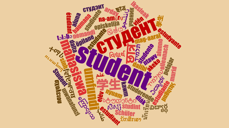 Most+of+the+languages+spoken+at+SCCC+are+represented+in+this+graphic+for+the+word+%22student.%22