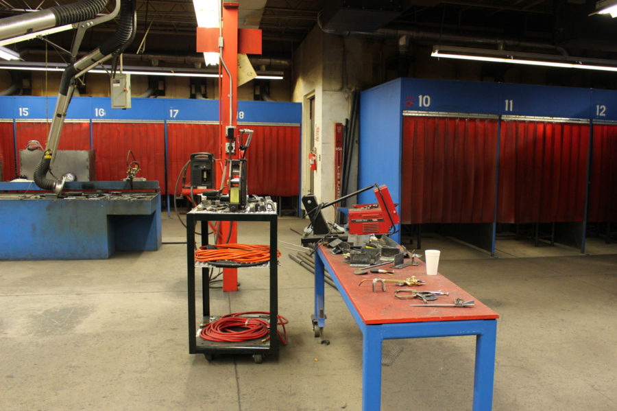 The welding technology workshop has all of the latest tools of the trade. Students have space to work while the area is well ventilated.