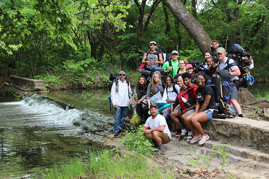 Field+biology+students+take+a+trip+to+Turner+falls+Oklahoma.+Students+are+required+to+go+on+two+camping+trips++to+pass+the+course.+