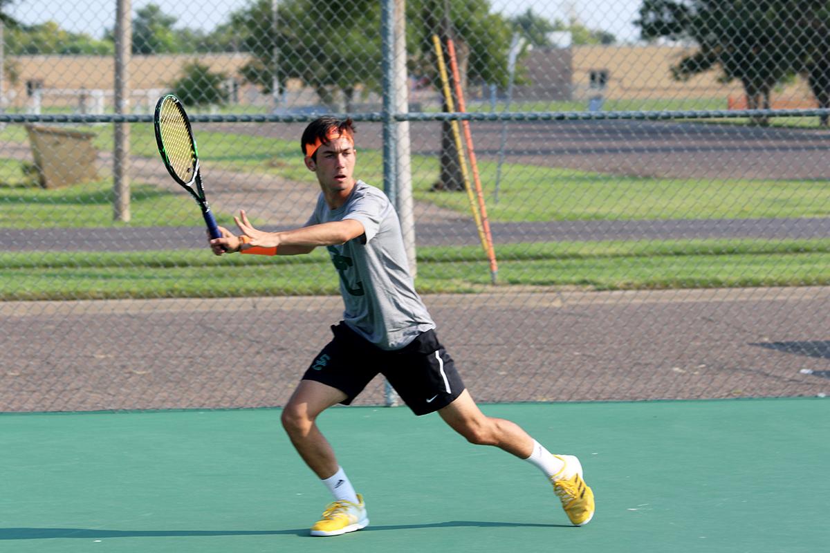 Hugo Lobo volleys at practice (file photo).