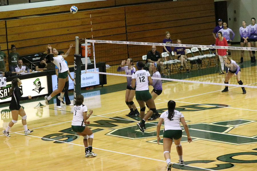 Viviane Viana goes for the kill during the match against Butler Community College. Viana finished the night with 11 kills.