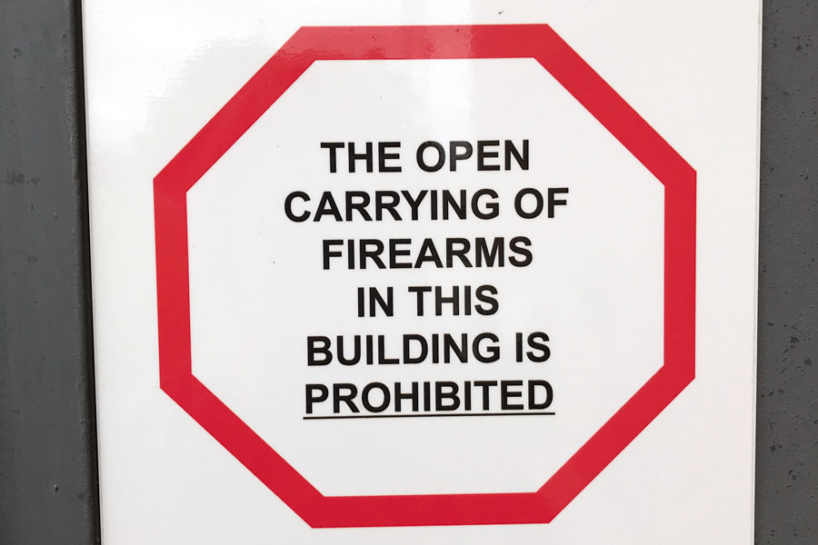 This+sign+is+posted+in+front+of+every+door+at+SCCC.+Concealed+carry+laws+are+changing+on+college+campuses.