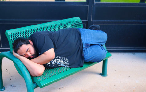 "Jose Alvarado sleeps his stress away. ""I think taking naps really helps me before I attend my next class. It refreshes my memory and keeps me awake during class,"" Alvarado said."