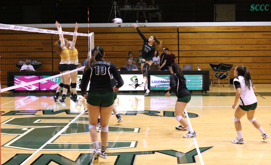 Viviane Viana attempts a thundering spike during their matchup. Viana finished the match against Pratt with 2 points.