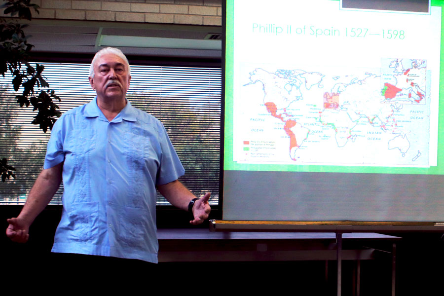 "Dr. Chávez giving a presentation called, ""Flour Power.""  His presentation was on the history of the humble tortilla."