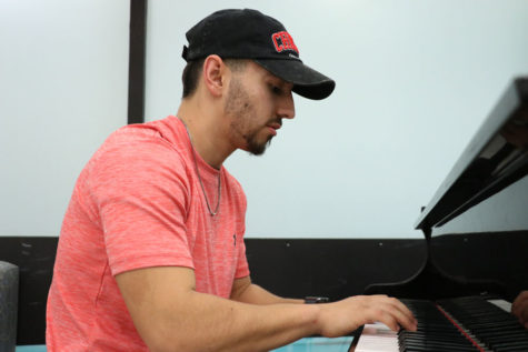 Sophomore Sergio Peregrino enjoys playing the piano before and after classes. Peregrino knows how to play the drums, the guitar and the piano.