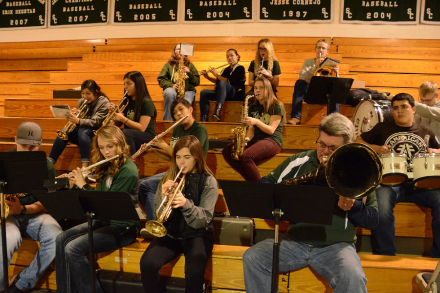 The Satanta High School band plays in the Greenhouse on Saturday Jan. 13 during the game vs Garden. Throughout the month of January, different area high school bands are coming to play for home games.