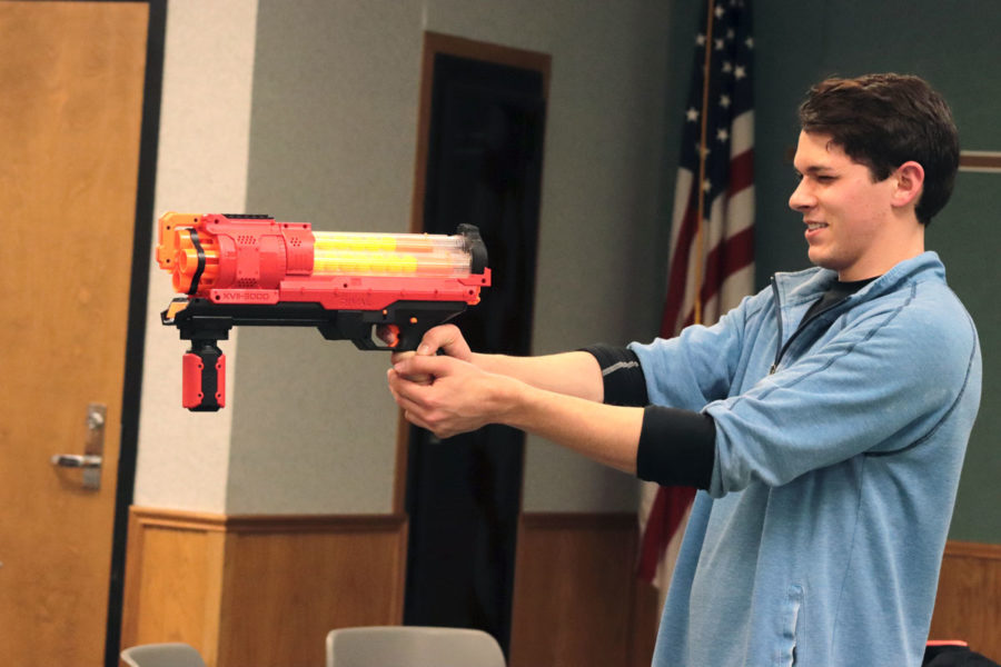 The SCCC amazing race was filled with different obstacles for students to master before they could get a clue. This obstacle required teams to target shoot foam fingers with a ping-pong gun.