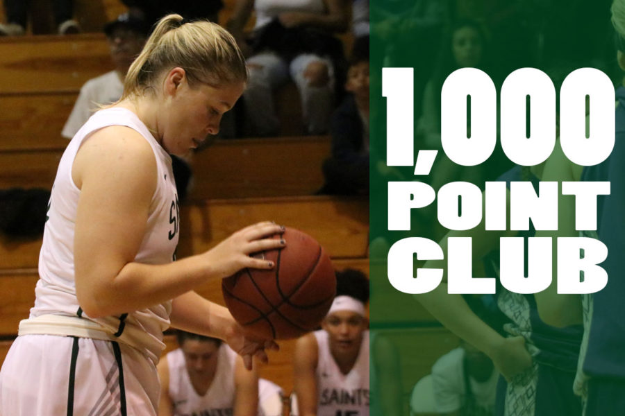 Sophomore%2C+Mollie+Mounsey%2C+was+the+eighth+Lady+Saint+to+score+1.000%2B+points+on+January+10+against+DCCC.+Mounsey+has+scored+1%2C008+points+so+far.