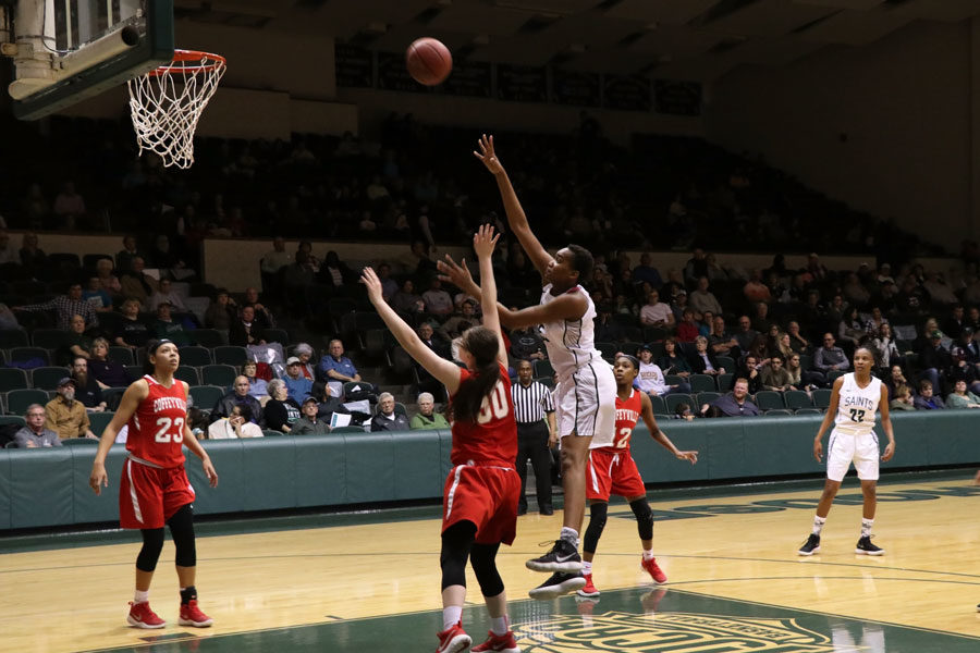 Freshman, Vilma Covane, attempts a post-move on her opponent during the second half. Vilma Covane finished the game with a total of 12 points, three rebounds, two assists and two steals.