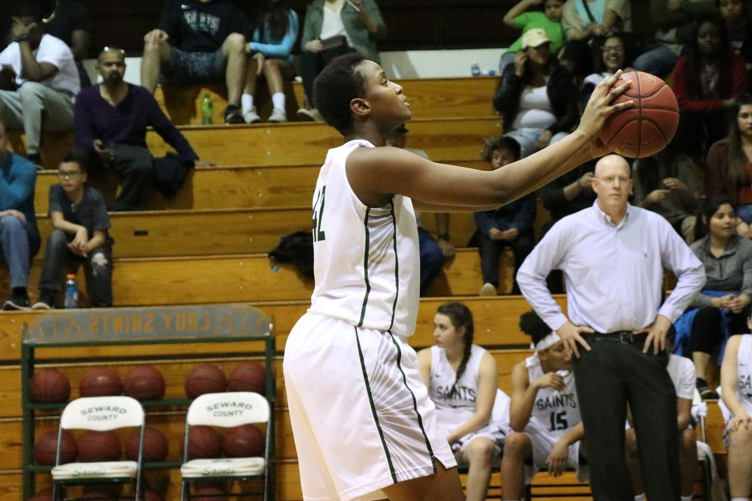 Freshman forward, Carla Covane, attempts a free throw. (File Photo)