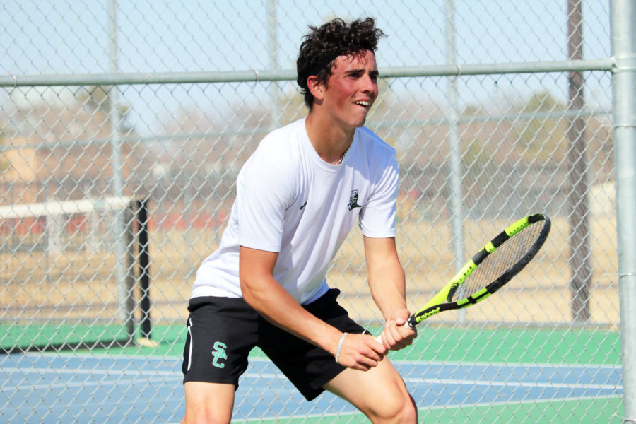 Freshman%2C+Frank+Rousset+receives+a+serve+from+his+opponent+%28File+Photo%29.