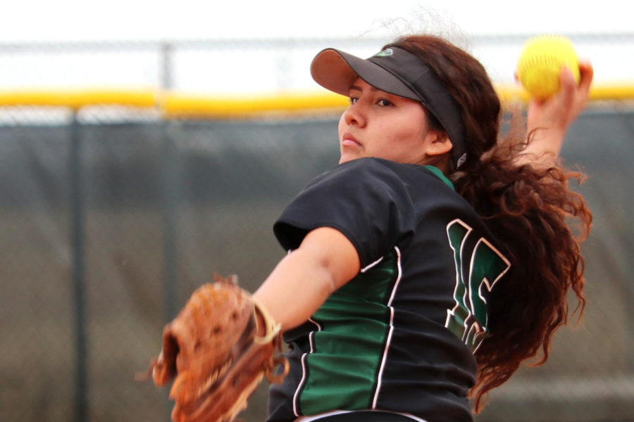 Sophomore Monique Ashley pitches to an opponent. Ashley has earned 194 strikeouts so far this season. (File Photo)