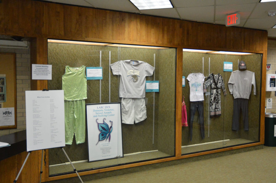 What were you wearing is an art exhibit that showcases the clothing assault victims wore the day of their attack. The exhibit was brought to SCCC by the Liberal Rape Crisis Center and  Domestic Violence Services.