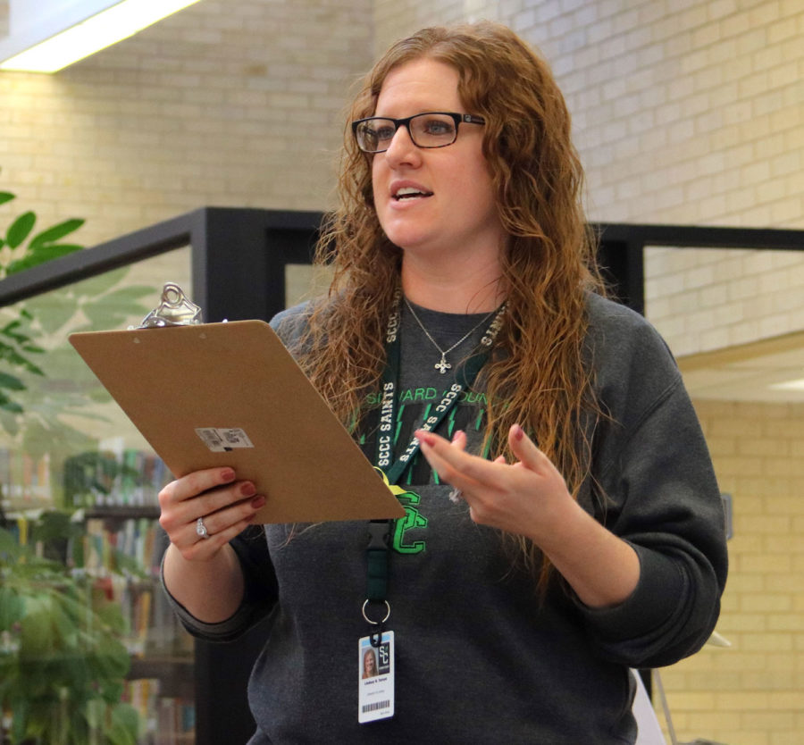 Lindsay Tuman, SCCC Library Director, introduced guest speaker Kevin Rabas.  Sandwiches and refreshments were provided while Rabas read and explained some poems.