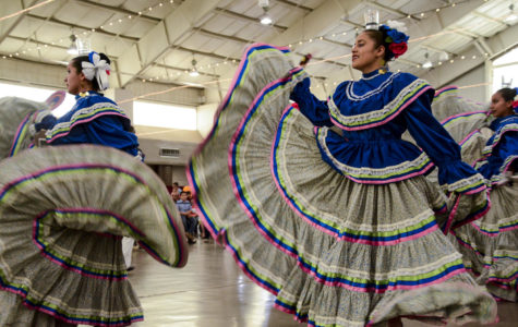 El Grupo de Danza Ballet Folklórico Omawari  de Delicias Chihuahua performs on May 5 in the community center. The women swirl while balancing glasses of water on their heads. Not a single drop was spilled. It's the second time they have come to Liberal to perform traditional dance as part of Cinco de Mayo celebrations.