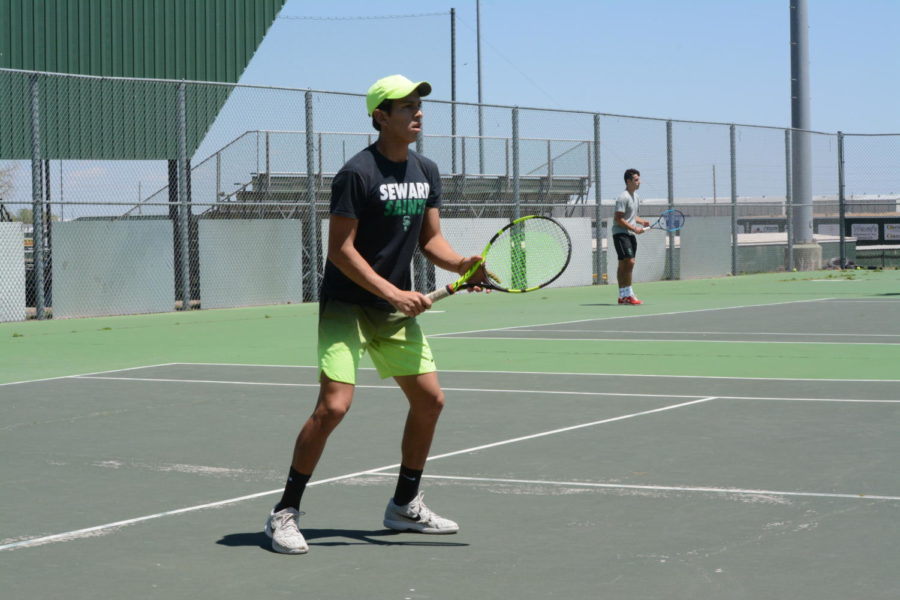 Freshman Carlo Izurieta from Ecuador is majoring in business. One thing he likes about tennis is working as team.