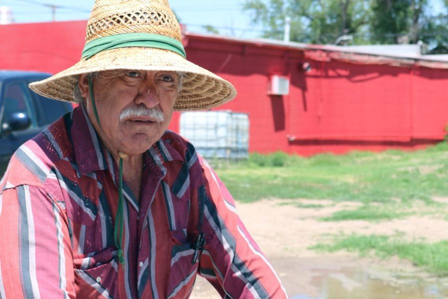 Francisco Solis spends the whole day in the heat, with only an occasional break, consisting of leaning up against the cart in the shade. Each paletero spends the whole work day on their feet. (Photo from Paletero Brings Mexican Summer Classic to Liberal Neighborhoods)