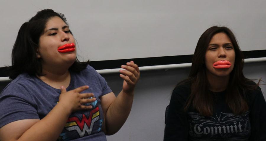 Michelle Mattich and Alondra Votello trying to talk with silicone lips. (Compete Fail)