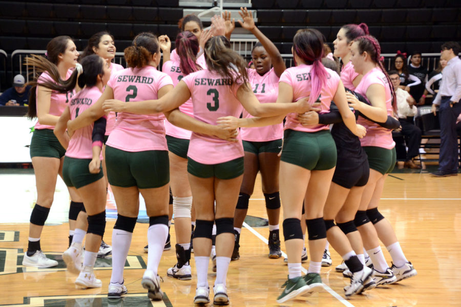 The+Lady+Saints+cheer+before+starting+their+game.+Seward+played+their+Dig+Pink+night+against+the+Lady+Grizzlies.+The+game%27s+funds+were+raised+to+support+The-Side-Out-Foundation.