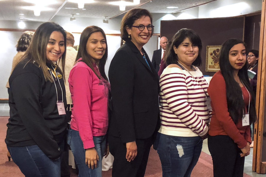SCCC's Crusader Staff poses with Sonia Nazario for a photo during the V.I.P reception before her presentation. Crusader was the only group of students allowed in the V.I.P room. Going on the trip were Monica Gonzalez, Moscow freshman, Alondra Botello, Satanta freshman, Michelle Mattich, Liberal super sophomore, and Rubi Gallegos, Liberal sophomore.