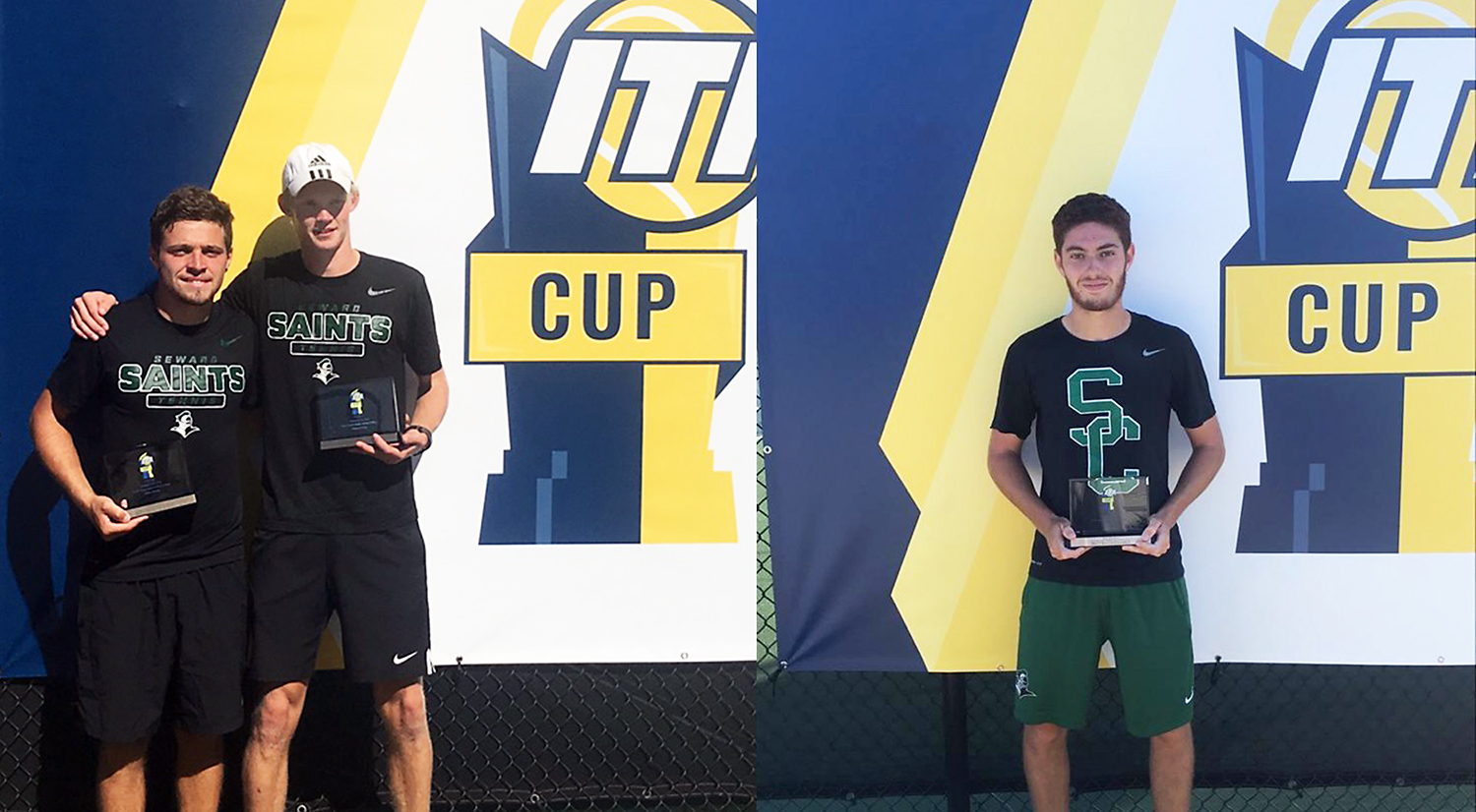 (Left to right) Sophomore Gabriel Nery and freshman Sander Jans won the ITA Doubles National Championship Title and sophomore Nicolas Rousset won the TA Singles National Championship Title.