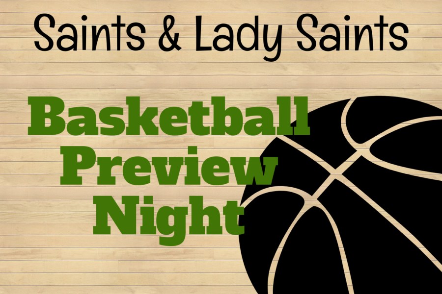 The+Saints+and+Lady+Saints+basketball+teams+held+their+Preview+Night+in+the+Greenhouse+on+Wednesday.+There+were+many+fun+events+for+the+players+and+audience+members+throughout+the+night.