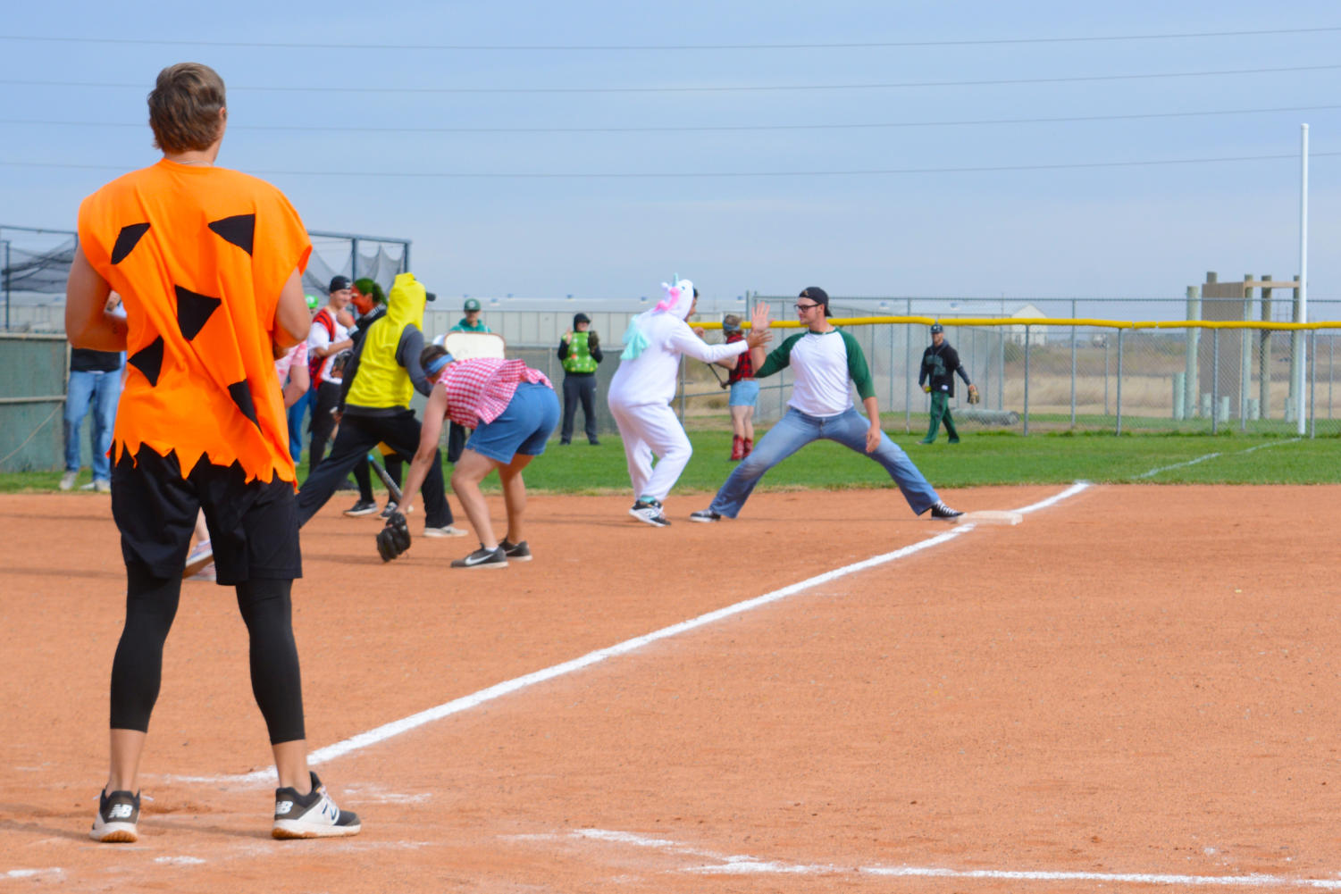 It was the very first slow pitch game for SCCC baseball and softball teams. both teams intermixed to create teams to play each other on the softball field for charity.